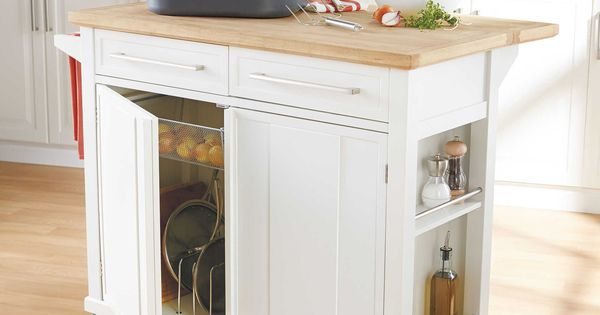 real simple 174 rolling kitchen island in white stick it corner entryway bench with wicker basket