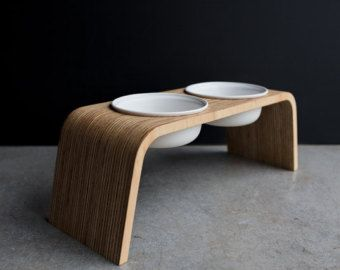 Modern Dog Feeder Wooden Elevated Dish Stand Raised Bowl