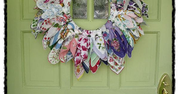 old hanky hankie wreath ¦ | Best Handkerchief Crafts | Pinterest