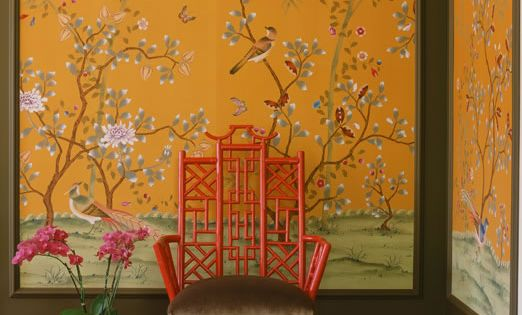 yellow, red, brown, white, birds, prints, chinoiserie