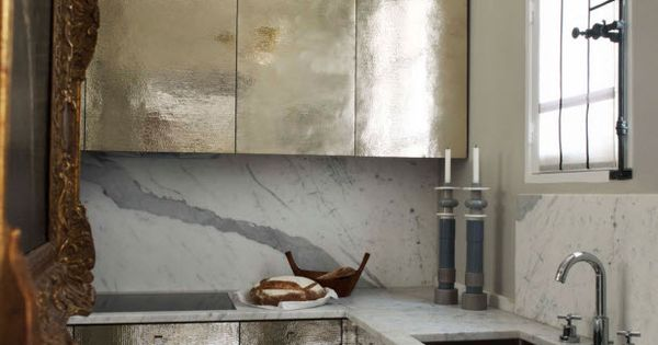 "Hammered metal kitchen cabinets featured in Elle Decor. WHAT? I""M IN LOVE!"