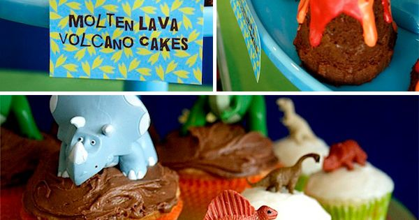 dinosaur birthday party ideas dinosaur volcano party Love the lava cakes!!!