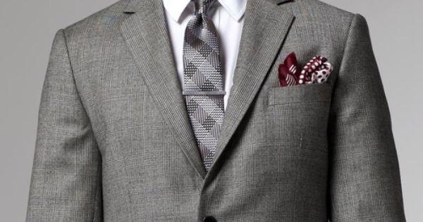 Ecravate Blanc à liseret Bordeaux Pochette de costume homme
