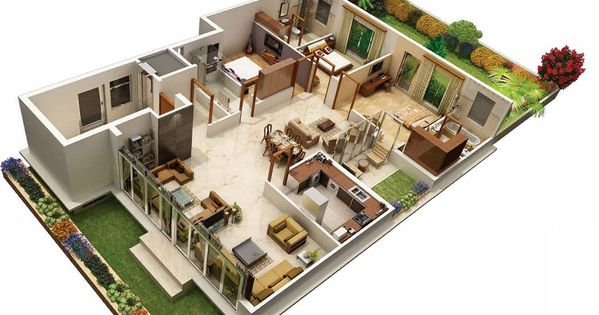 31 awesome villa floor plan 3d images plan pinterest House plan 3d online