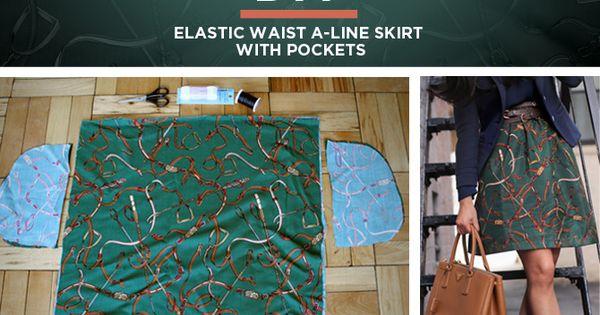 tutorial easy diy elastic waist a line skirt w pockets