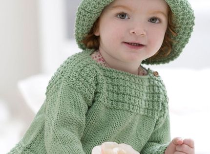 Baby Boat Neck Sweater and Sun Hat - free pattern to ...