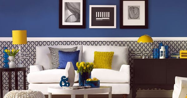 Nursery color scheme: Blue room with yellow, white, and black decor