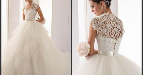 High Neck Ball Gown Vintage Wedding Dresses With Lace