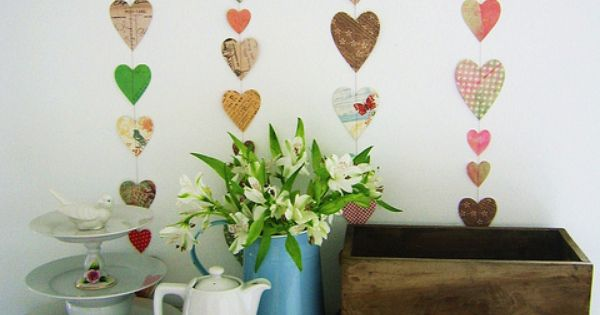 Pretty heart garlands by dotty angel (with a tutorial).