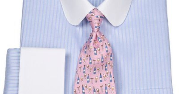 2-Ply Cotton Twill Stripe Club Collar French Cuff Dress Shirt from Paul Fredrick