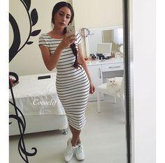 Usar Tenis Con Vestido Es La Combinacion Perfecta En Una Mujer Vestidos Largos Pegados Vestidos Con Tenis Vestidos Largos Juveniles