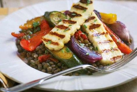 Puy Lentils With Roasted Vegetables And Griddled Halloumi Recipe Recipe Recipes Vegetarian Recipes Meat Free Recipes