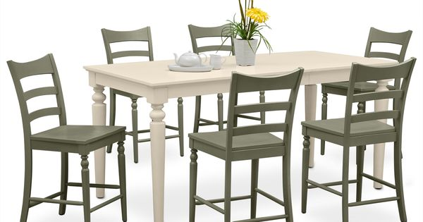 Dining Room Furniture Carnival Green Ii 7 Pc Counter Height Dinette French Inspired
