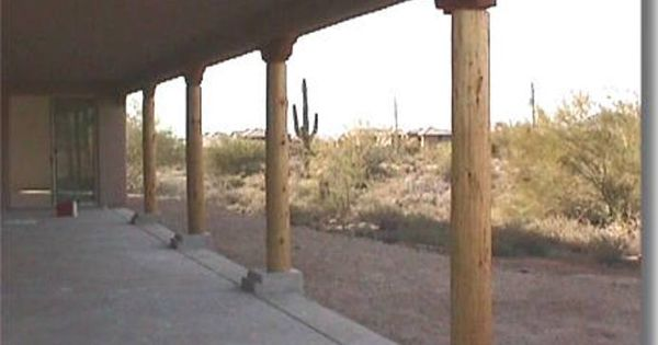 Santa Fe Style Patio With Dry Pine Pole Viga Logs Hand