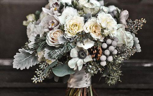 Winter Wedding Flowers - anemones, brunia, and dusty miller