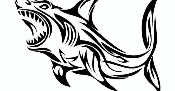 Great White Shark Tribal Vinyl Car Sticker | Smooth, Weather and Cars