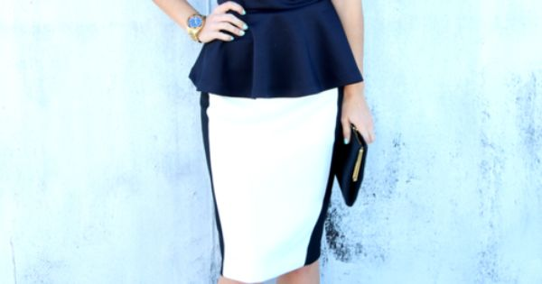 Peplum Shirt With Pencil Skirt