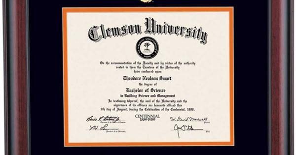 Clemson School Color Traditional Diploma Frame Diploma