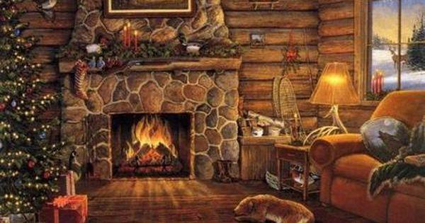 Log Cabin At Christmas Fireplace Cabin Christmas Christmas