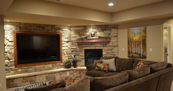 Basement Entertainment Wall: TV Centered And Corner