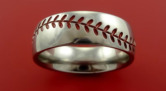 Titanium Baseball Ring with Red Stiching Fan by StonebrookJewelry...... OMG this is awesome!!!!