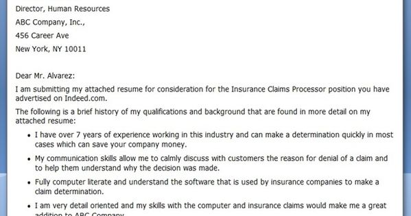 insurance claims processor cover letter sample