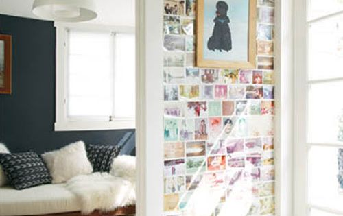 polaroid wall. I like this for a really small space like the