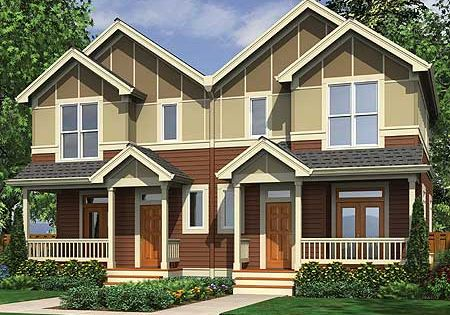 Plan 69464am narrow lot multi family home craftsman for Multi family plans for narrow lots