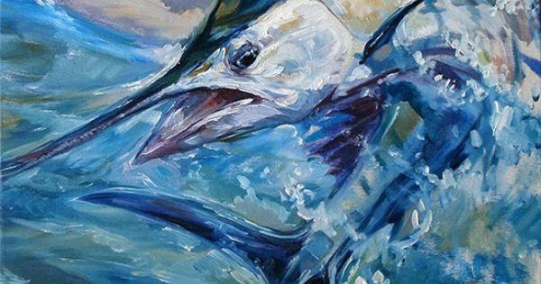 D 39 auria wave runner oil on canvas sailfish marlin for Ocean blue fish oil
