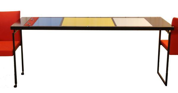 Mondriaan posttafel gemaakt van oude postbuskasten verdraaidgoed pinterest mondriaan - Tafel met chevet ...