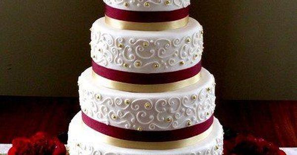 Pinterest Wedding Cakes: Burgundy Gold Ivory Cake