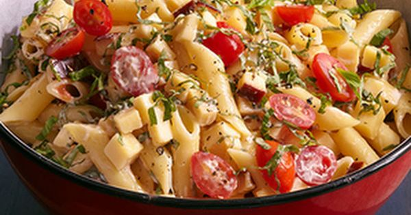 Spicy Pasta Salad with Smoked Gouda, Tomatoes, and Basil Recipe Salads ...