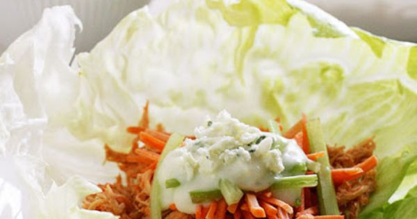Crock Pot Buffalo Chicken Lettuce Wraps. Low carb and super colorful! Easy
