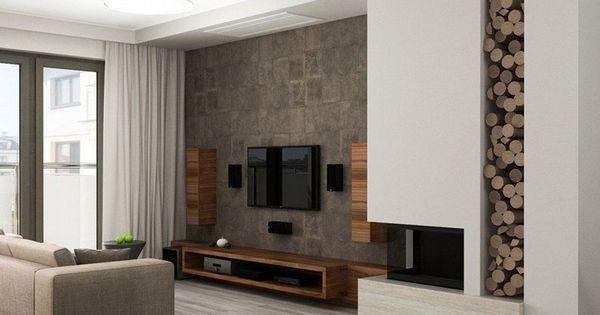 Salon moderne avec d co murale aspect bois meuble tv bas for Meuble bigras laval ouest