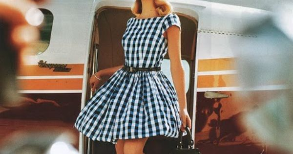 50's style gingham dress love the dress and the ha
