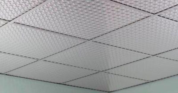 Fasade Diamond Plate 2 Ft X 2 Ft Revealed Edge Vinyl Lay In Ceiling Tile In Brushed Aluminum L66 08 Ceiling Tiles Ceiling Panels Tiles