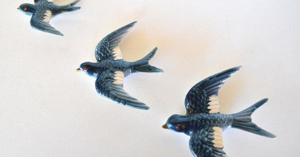 Vintage 1960 S Ceramic Flying Wall Birds Swallows Swallows