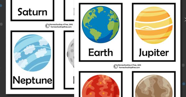 Galerry outer space printable planet flashcards