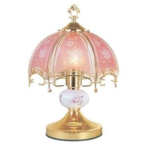 Ore International 14 In Floral Brushed Gold And Pink Touch Lamp K312 The Home Depot Touch Table Lamps Touch Lamp Gold Table Lamp