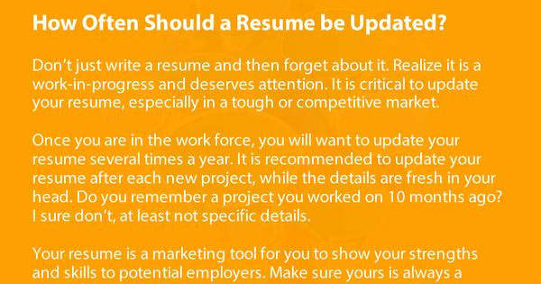 How often do you update your resume? Read more resume, job searc - how to update your resume