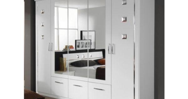 Armoire 5 Portes Et 3 Tiroirs Maggia Blanc Chambre A Coucher Design Armoire Tiroir