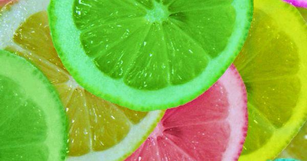 birthday party idea! Let oranges or lemons soak in food coloring. Freeze