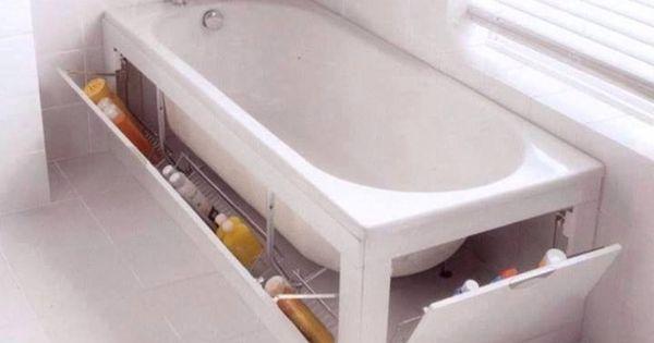 astuce rangement gain de place sous la baignoire gain de place pinterest cr atif lieux et. Black Bedroom Furniture Sets. Home Design Ideas