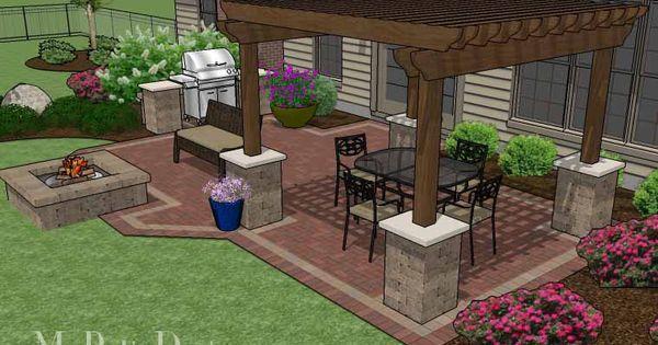 backyard brick patio design with 12 x 12 pergola, grill station ... - Patio Designs With Pergola