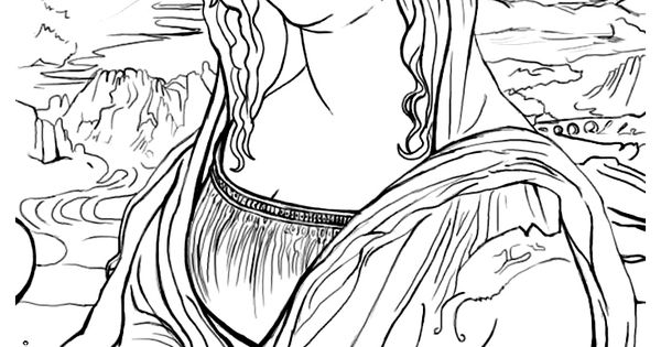 Free Coloring Page Coloring-mona-lisa. The Famous Mona