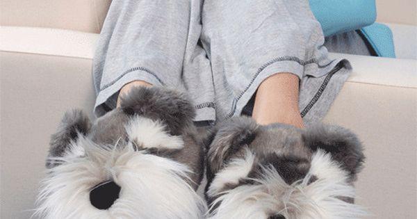 Aroma Home Fun For Feet Schnauzer Dog Slippers