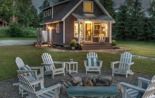 Adirondack Chairs Around Low Fire Pit Love The Circle Of