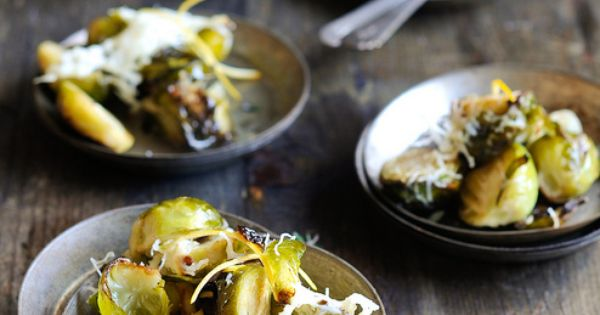 Baked Brussels Sprouts with Shaved Parmesan Lemon (also love the rustic table