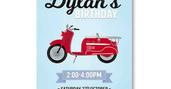 Scooter Invitation For Boys Birthday Vesper Moped Retro Printable by WestminsterPaperCo ...