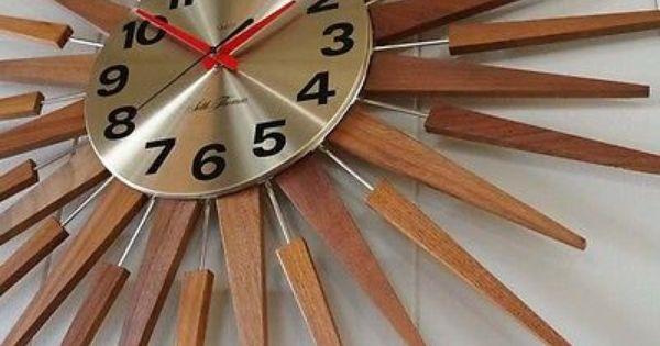 Vintage Starburst Sun Seth Thomas Starflower Eames Atomic Era Wall Clock 50s Espelho Espelho De Sol Por Do Sol